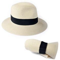 d56d7539fde Women s Straw Fedora Panama Style Packable Travel Sun Hat Trilby Hat
