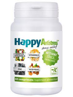 Rezistenta la stres HappyAntistress - HappyAntistress este un complex vitaminic asociat cu cupru si zinc si are actiune tonica si compensatoare, marind rezistenta la stres.