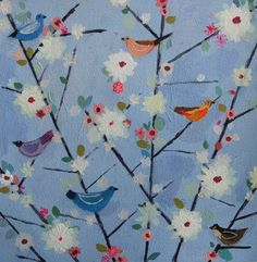 """Charlotte Hardy, """"Songbird"""", mixed media on paper."""