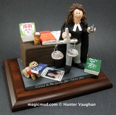 Lady Lawyers Gift by www.magicmud.com 1 800 231 9814 creating a custom made gift figurine for any woman based on the things she likes to do! ...incorporating her work, sports, family, hobbies, food, drink, shopping, etc. $225 #mom #lawyer #attorney #mother #momsgift #wife #christmas #birthday #anniversary #custom #personalized #xmas #present #award #ChristmasGift #BirthdayGift #sister #girlfriend #aunt #BFF