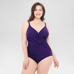 Women's Plus Size Slimming Control Shirred Waist Solid One Piece Swimsuit Purple 16W - Dreamsuit by Miracle Brands