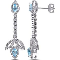 Tangelo 1-1/3 Carat T.G.W. Blue and White Topaz with Diamond-Accent Sterling Silver Drop Earrings, Women's