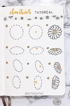 If you want to add a super cute floral theme to your bullet journal spreads this month, check out these daisy monthly covers, habit trackers, weekly spreads and more for new ideas / inspiration! Bullet Journal Lettering Ideas, Bullet Journal Notebook, Bullet Journal School, Bullet Journal Spread, Bullet Journal Ideas Pages, Bullet Journal Inspiration, Junk Journal, Flower Drawing Tutorials, Bullet Journal Aesthetic