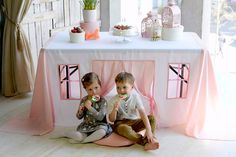 Pink birthday tablecloth Pink girls playhouse Pink girls