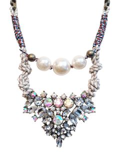 """""""Yara"""" Crystal and pearl roped statement necklace - White Crown SocietyWhite Crown Society"""