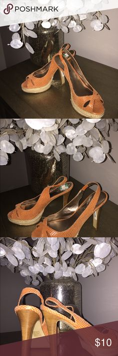 Orange sandals Orange heels ready for your stylish work day or some denim skinny jeans! Moda International Shoes Heels