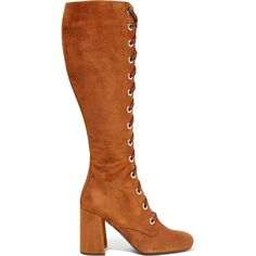 Prada Lace-up suede knee boots ($1,680) ❤ liked on Polyvore featuring shoes, boots, brown, knee high heel boots, brown lace up boots, brown high heel boots, suede knee high boots and square toe boots