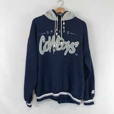 0b432d6f9 Vintage 90s Dallas Cowboys Starter Double Hoodie Sweat Shirt