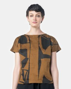 Boat Neck Top in Teak/Black Print