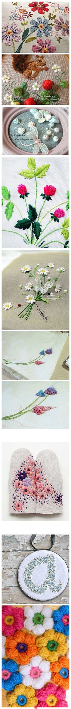 A variety of lovely embroidery stitches...