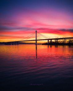 Good morning San Francisco: sun rising behind the Bay Bridge. By @heyengel by San Francisco Feelings