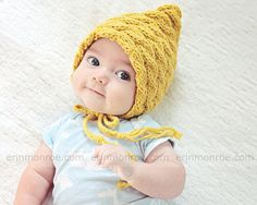 Practical Cable Mustard Bonnet Hat Knit Baby Hat Photo door zoik, $24.00