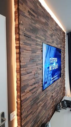 Wood Panel Walls, Wood Paneling, Wood Wall, Tv Wall Design, House Design, Steak And Eggs, Types Of Food, Wow Products, Tv Decor