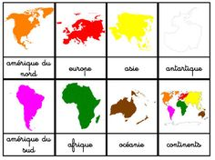 I have just seen that I have never posted our nomenclature maps of the Continents. Here is a small post to introduce you quickly … - Montessori Education, Montessori Materials, Zumba Kids, Continents And Oceans, Drawing Conclusions, Learn English Grammar, Teaching Time, Practical Gifts, How To Introduce Yourself