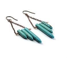 Turquoise earrings: blue earrings, inspired by native american earrings brass chain long earrings ethnic jewelry by linneaheideart