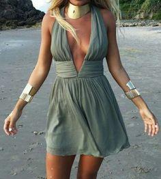 Fashion Style Halter Backless Sleeveless Dress  #fashion #women #dress
