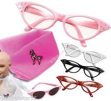 b7cf346f3d Womens Girls 50s Rock Roll Retro Grease Poodle Scarf Glasses Fancy Dress  Costume Rock Roll