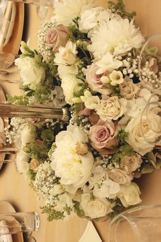 Wedding Flowers, Table Centre, Dusky Pink, Cream and Sage Green