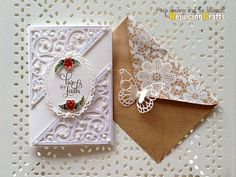 Wedding Card with Spellbinder dies   could be a tag...