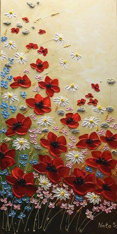 Pintura de flores silvestres pintura acrílica espátula