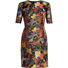 Mary Katrantzou Mayfield short-sleeved jacquard dress (37 110 UAH) ❤ liked on Polyvore featuring dresses, short-sleeve dresses, mixed print dress, cheetah print dress, flower print dress and mary katrantzou