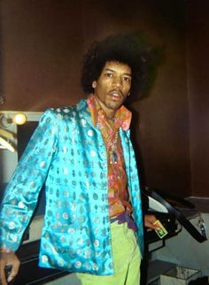 Jimi Hendrix in his dressing room at the Paris Olympia, 9 October 1967, by Odile Noel