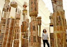 ''Majestic'' … Hetti Perkins, Art Gallery of NSW senior curator, with the grave posts in their new more prominent position.