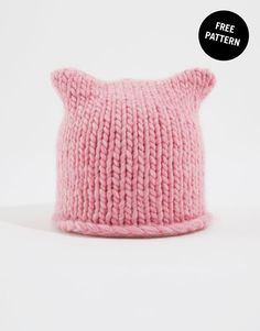 Katknits Pussy Hat Free Pattern by Wool and the Gang Baby Hat Knitting Pattern, Baby Hats Knitting, Knitting Kits, Beanie Pattern, Knitting For Kids, Loom Knitting, Knitting Patterns Free, Free Knitting, Knitting Projects