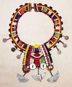 AFRICAN MAASAI MASAI BEADED ETHNIC TRIBAL COLLAR NECKLACE JEWELRY - KENYA 46
