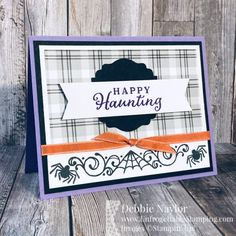 Unfrogettable Stamping | August 2020 Stampers Dozen Blog Hop Halloween card featuring the Celebration Tidings stamp set, Plaid Tidings DSP, Label Me Lovely punch, Banners Pick a punch and Ornate Garden ribbon from Stampin' Up! Up Halloween, Halloween Coloring, Halloween Cards, Halloween Greetings, Kiwi Lane Designs, Fall Cards, Christmas Cards, Bridge Card, Handmade Birthday Cards