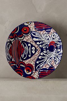 Colorful African Wax plate from Anthropologie Habari Dinnerware collection #red