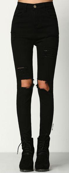 Black Skinny Ripped Denim Pant