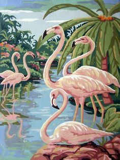 Water Birds, Paint by Number - Flamingos.