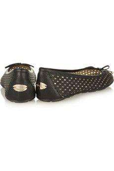 JIMMY CHOO  Walsh perforated textured-leather ballet flats  $425