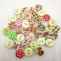 100Y43264  15mm round Wooden Button Random Color 100 pieces, DIY handmade materials, wedding gift wrap