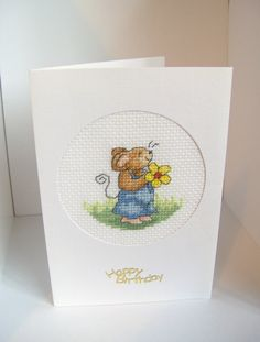 Mouse birthday cross stitch card mouse card by BuzzybeeBeading, £3.30