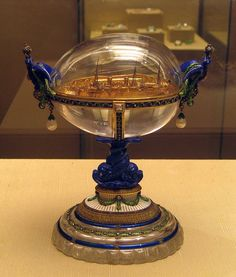 (known as both) The Standart Yacht Egg or The Standart Egg (1909) - Given by Nicholas II to his wife, Alexandra. Currently in the Kremlin Armoury Museum in Moscow.