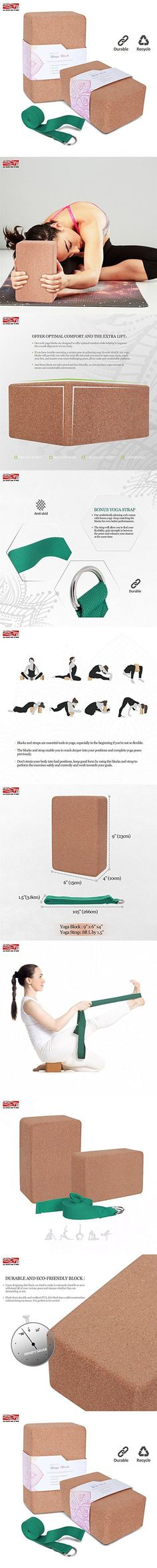 "ARLTB Cork Yoga Block 2 Pack and yoga Strap Set with Metal D-Ring 4""x6""x9"" Cork Yoga Bricks and 8"" Yoga Strap Natural and Sustainable Material for Any Type of Yoga Styles (Cork Yoga Block, 4""x6""x9"")"