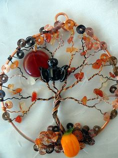 Wire Wrapped Halloween Tree Ornament by WrappedUpInMagic on Etsy, $40.00