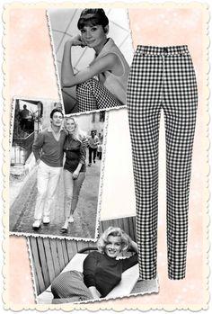 Le vichy intemporel est souvent associé à Brigitte Bardot ... mais d'autres stars des années 50-60 l'ont adopté! Marilyn Monroe et audrey Hepburn en pantalon cigarette taille-haute, modèle Maddie chez MissRetroChic.com