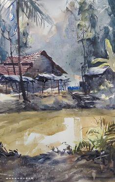 Watercolor Scenery, Watercolor Paintings Nature, Watercolor Pictures, Watercolor Landscape Paintings, Watercolors, African Art Paintings, Modern Art Paintings, Black Art Painting, Art Village