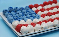 Cake Balls-American flag, would be fun using cake doughnut holes.