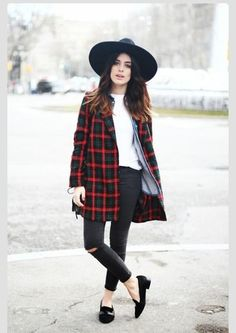 flannel coat shirt plaid jacket top red green navy fashion fall trend fall outfits trendy preppy hat