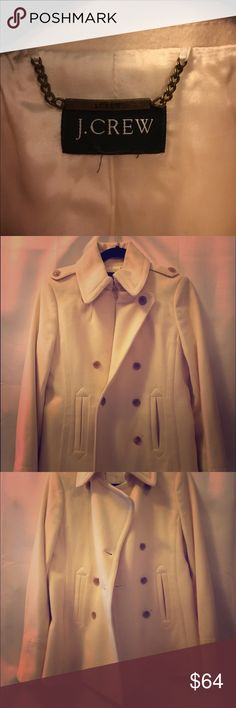 """J. Crew Peacoat sz. 8T Cream Size 8 tall. Cream colored and worn gently. Beautiful tailored look when on and the length is longer in arms for the taller gals.  Length from shoulder to bottom hem is 28"""" J. Crew Jackets & Coats Pea Coats"""