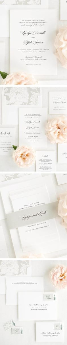 A gorgeous script font is the focus of these elegant wedding invitations. Shown in black ink with a blooms envelope liner and belly band in stone.