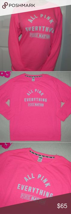 Victoria's Secret PINK Boyfriend Crew Campus Sweat Victorias Secret PINK Boyfriend Crew Size large Brand new without tag nwot Your cutest sweatshirt! Comfy crewneck in super soft fleece Says ALL PINK EVERYTHING PINK NATION Oversized, see measurements Perf