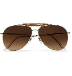 Aviator-Style Bamboo-Trimmed Silver-Tone Polarised Sunglasses | MR PORTER