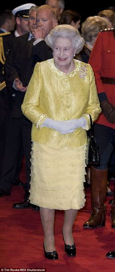 Growing old with grace: Wearing peach at the 'A Bunch of Amateurs' Royal Film Premiere, Odeon Leicester Square, 2008, and in yellow visit to Halifax, Nova Scotia, Canada, 2010