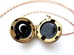 Virgo Locket, Custom Constellation Necklace, Black White and Gold, Horoscope Jewelry on Etsy, $45.00