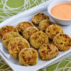 Oven-Fried Green Tomatoes with Sriracha-Ranch Dipping Sauce (Gluten-Free, Low-Carb, Phase One) from Kalyn's Kitchen